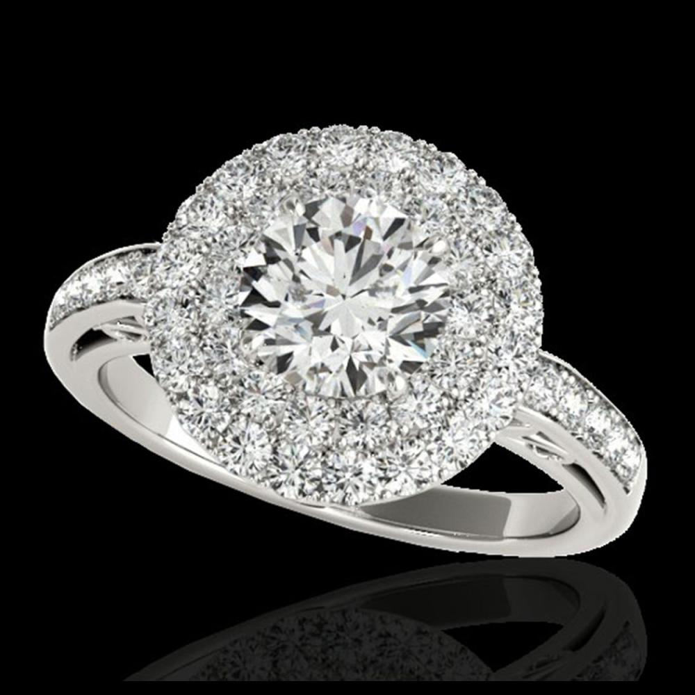 2.25 ctw H-SI/I Diamond Solitaire Halo Ring 10K White Gold - REF-245A5V - SKU:34202