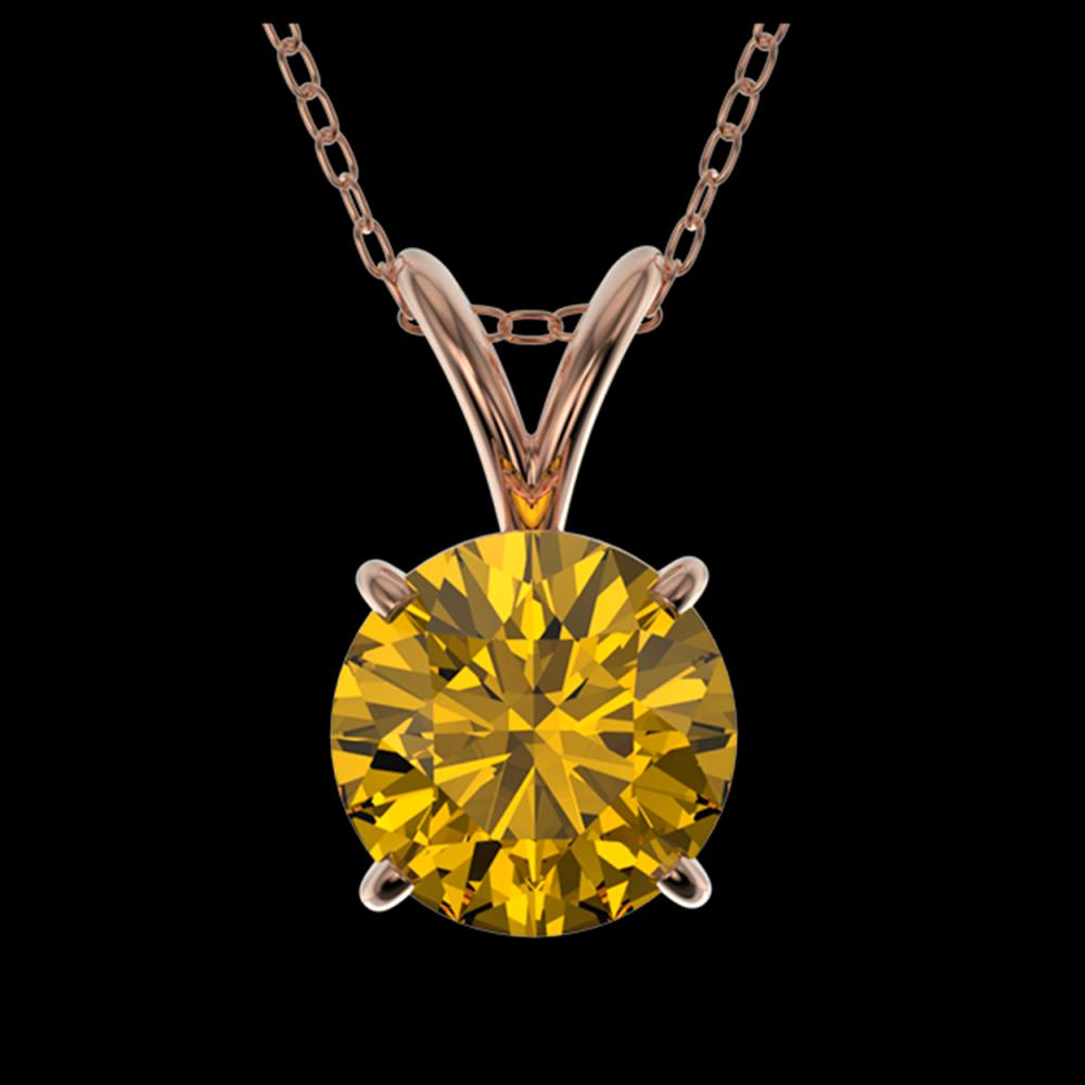 1.05 ctw Intense Yellow Diamond Necklace 10K Rose Gold - REF-202N5A - SKU:36772