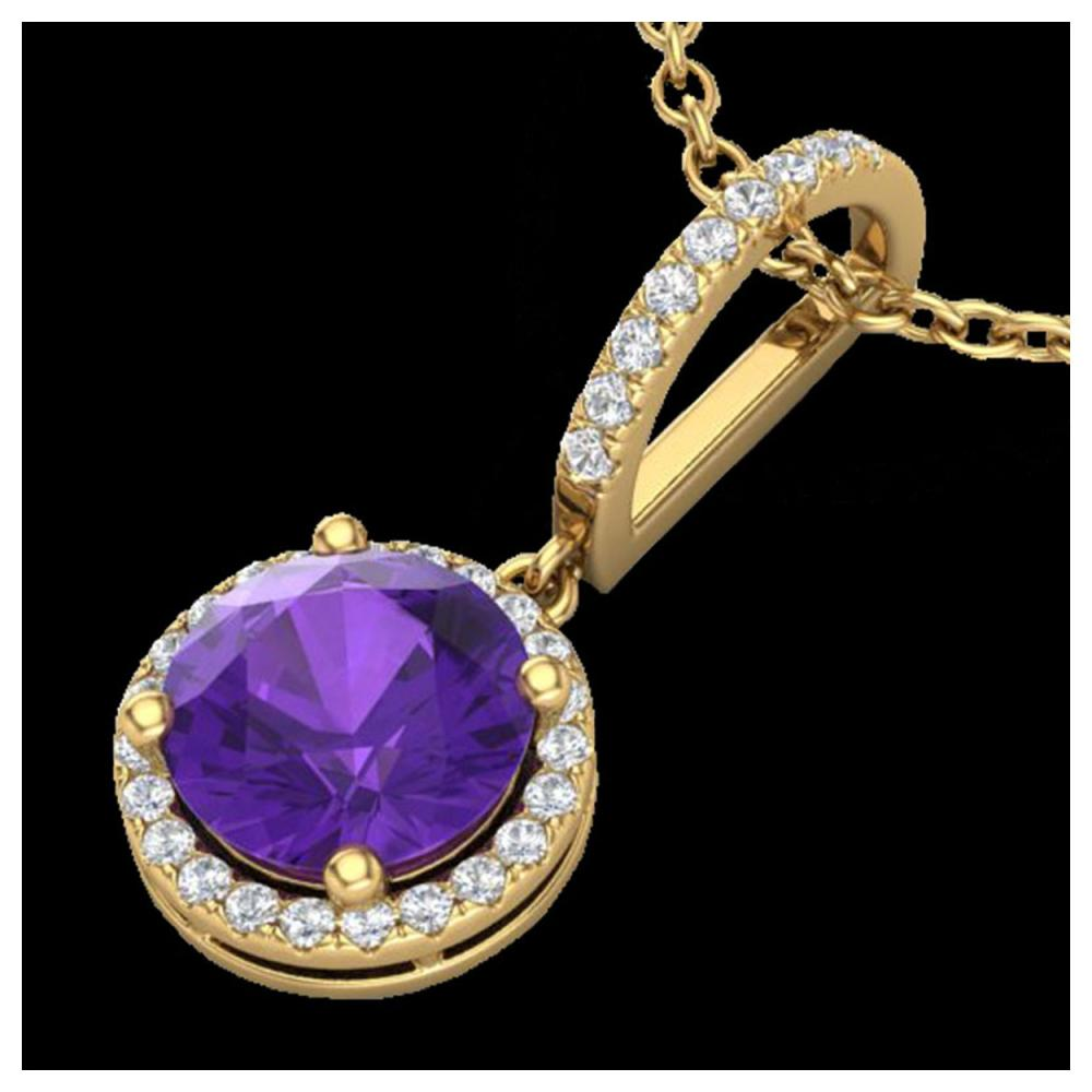 2 ctw Amethyst & VS/SI Diamond Necklace 18K Yellow Gold - REF-54A7V - SKU:23191