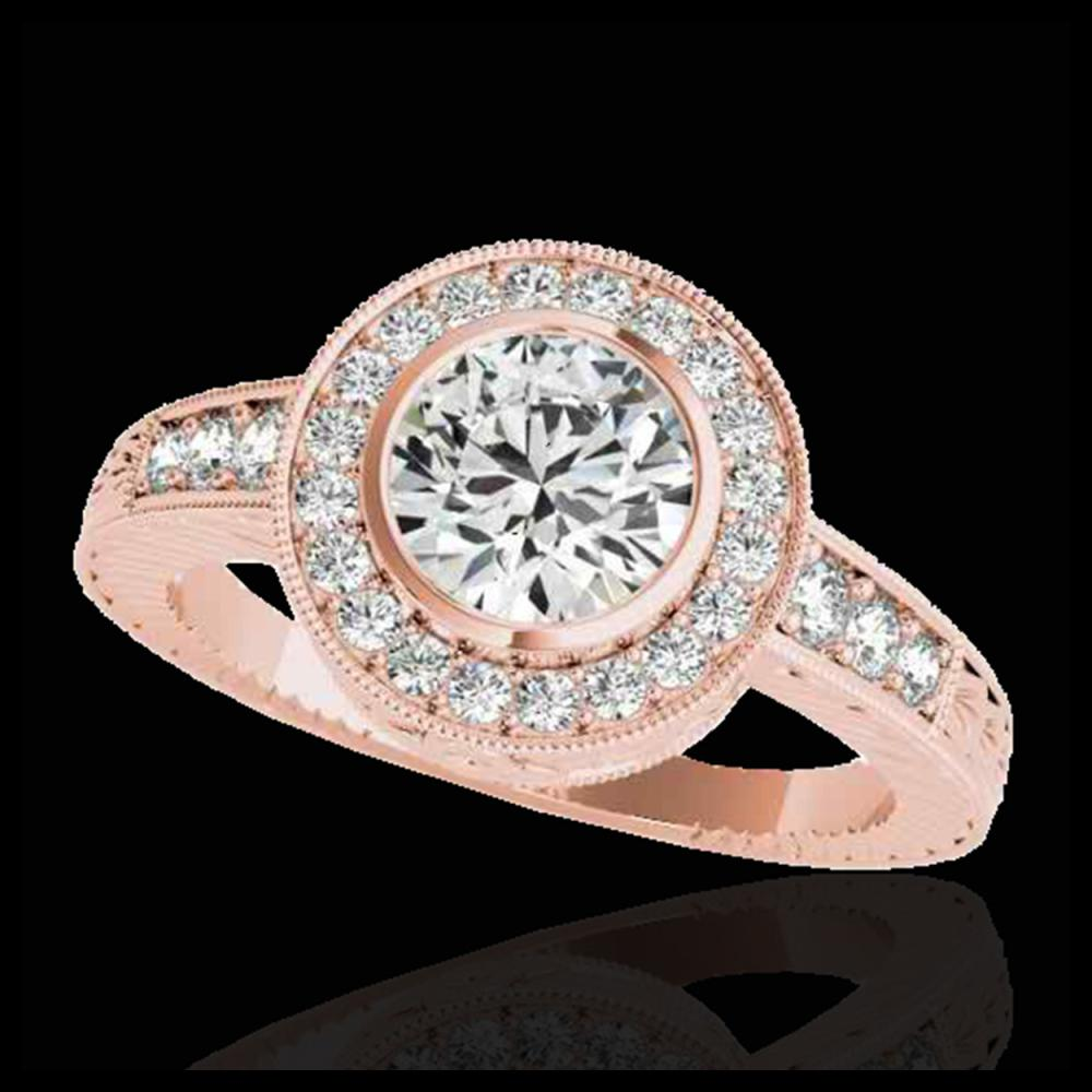 1.50 ctw H-SI/I Diamond Solitaire Halo Ring 10K Rose Gold - REF-197W7H - SKU:33892