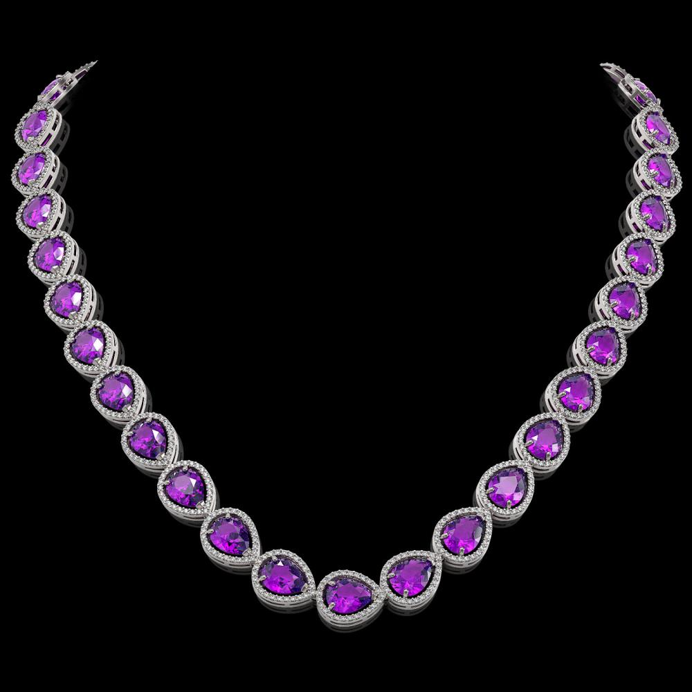 43.2 ctw Amethyst & Diamond Halo Necklace 10K White Gold - REF-603N3A - SKU:41225