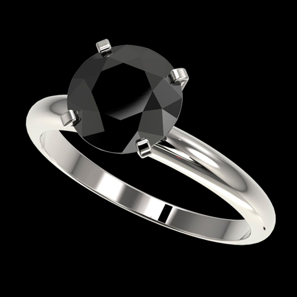 2.50 ctw Fancy Black Diamond Solitaire Ring 10K White Gold - REF-70M5F - SKU:32945