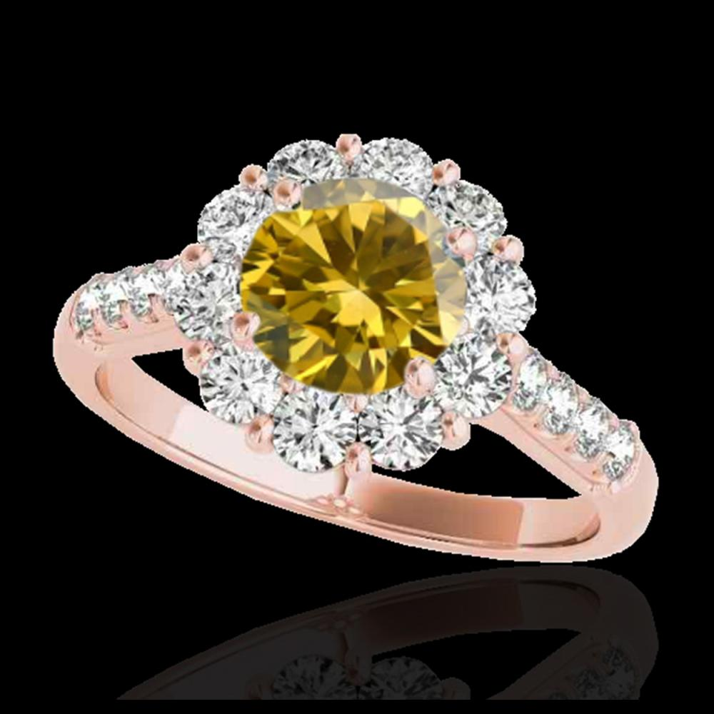 2 ctw SI/I Fancy Intense Yellow Diamond Halo Ring 10K Rose Gold - REF-225A2V - SKU:33426