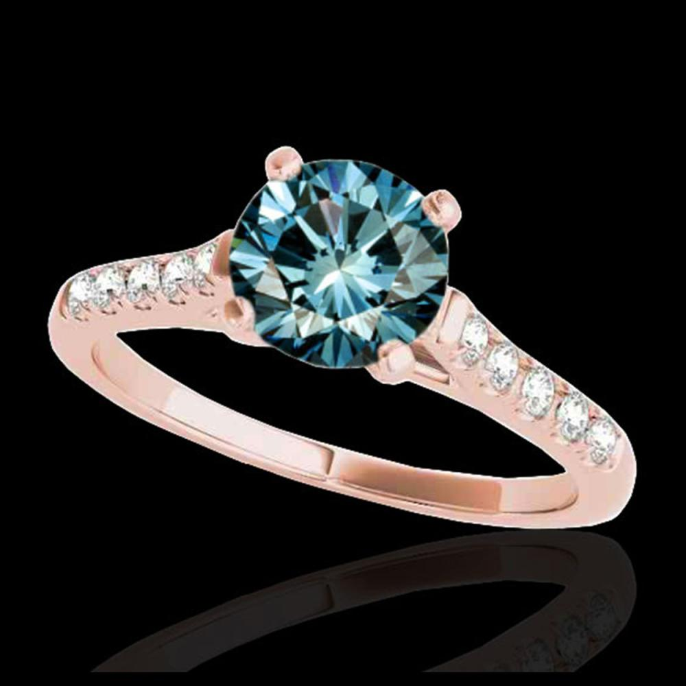 1.45 ctw SI Fancy Blue Diamond Solitaire Ring 10K Rose Gold - REF-163M6F - SKU:34985