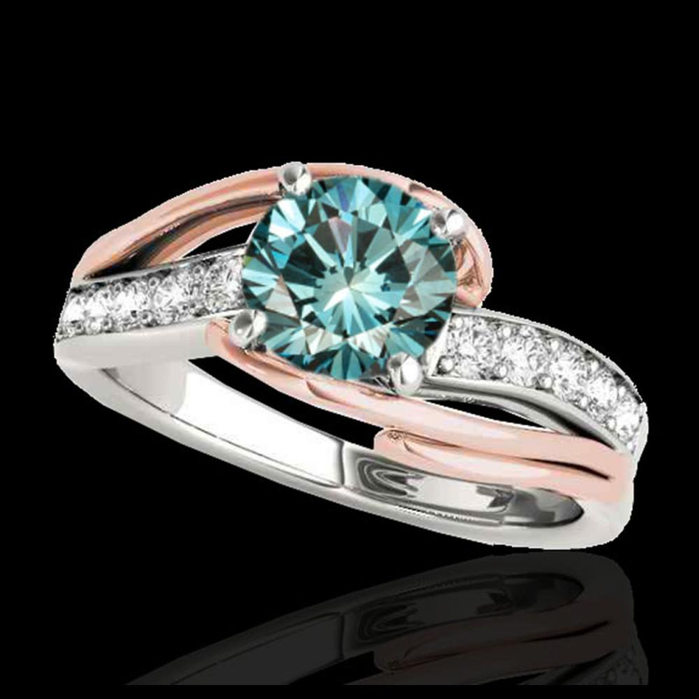1.25 ctw SI Fancy Blue Diamond Bypass Ring 10K White & Rose Gold - REF-132Y3X - SKU:35123