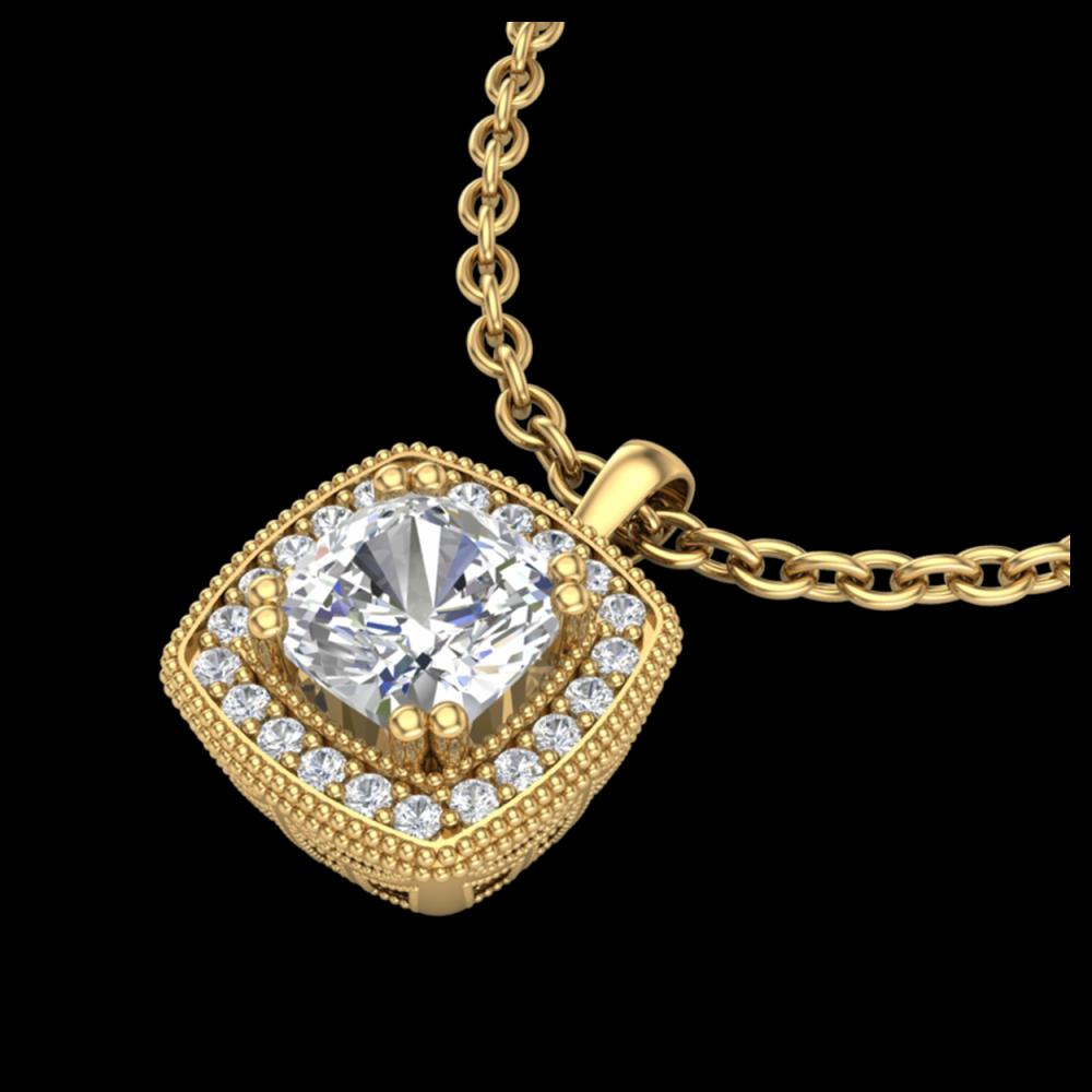 1.25 ctw VS/SI Cushion Diamond Art Deco Necklace 18K Yellow Gold - REF-337F5N - SKU:37039
