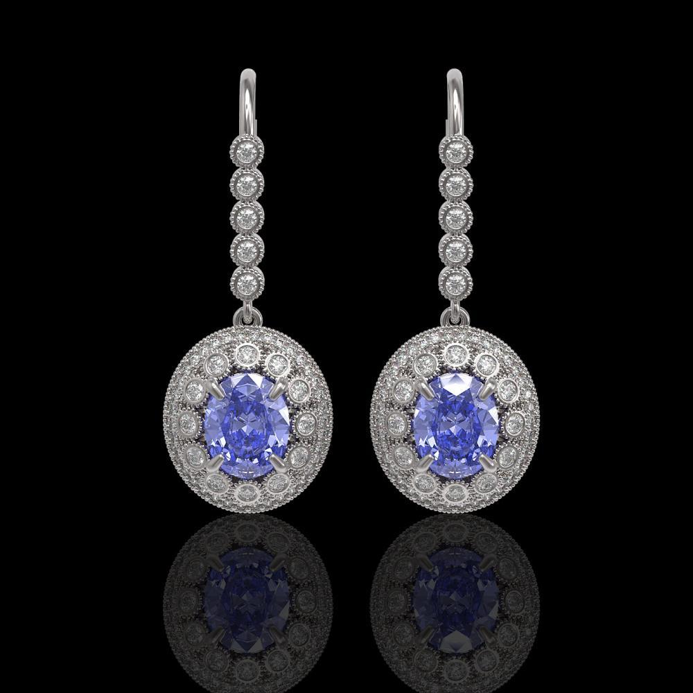 9.47 ctw Tanzanite & Diamond Victorian Earrings 14K White Gold - REF-315H6R