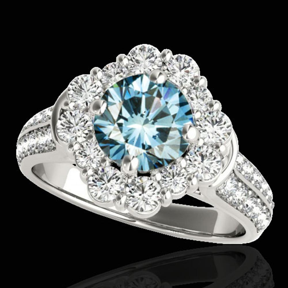 2.81 ctw SI Certified Fancy Blue Diamond Halo Ring 10k White Gold - REF-231A8N