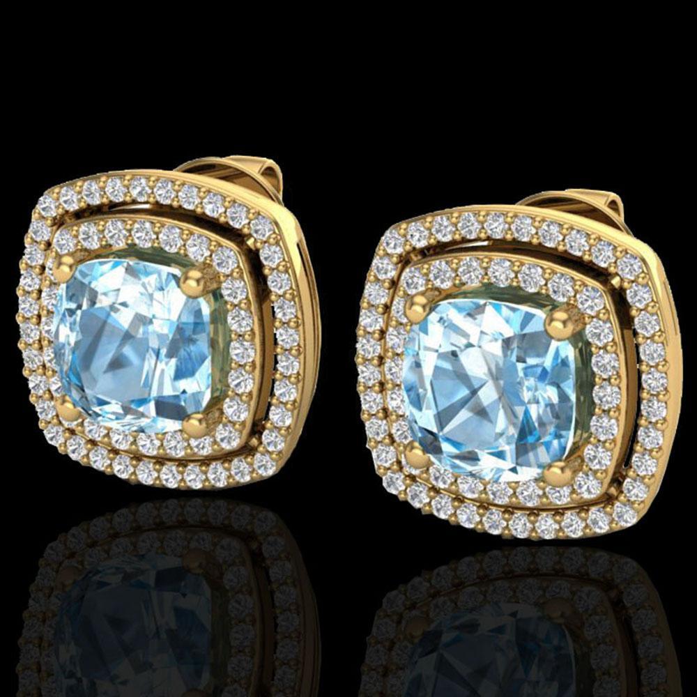 4.05 ctw Sky Blue Topaz & Micro VS/SI Diamond Earrings 18k Yellow Gold - REF-104K4Y