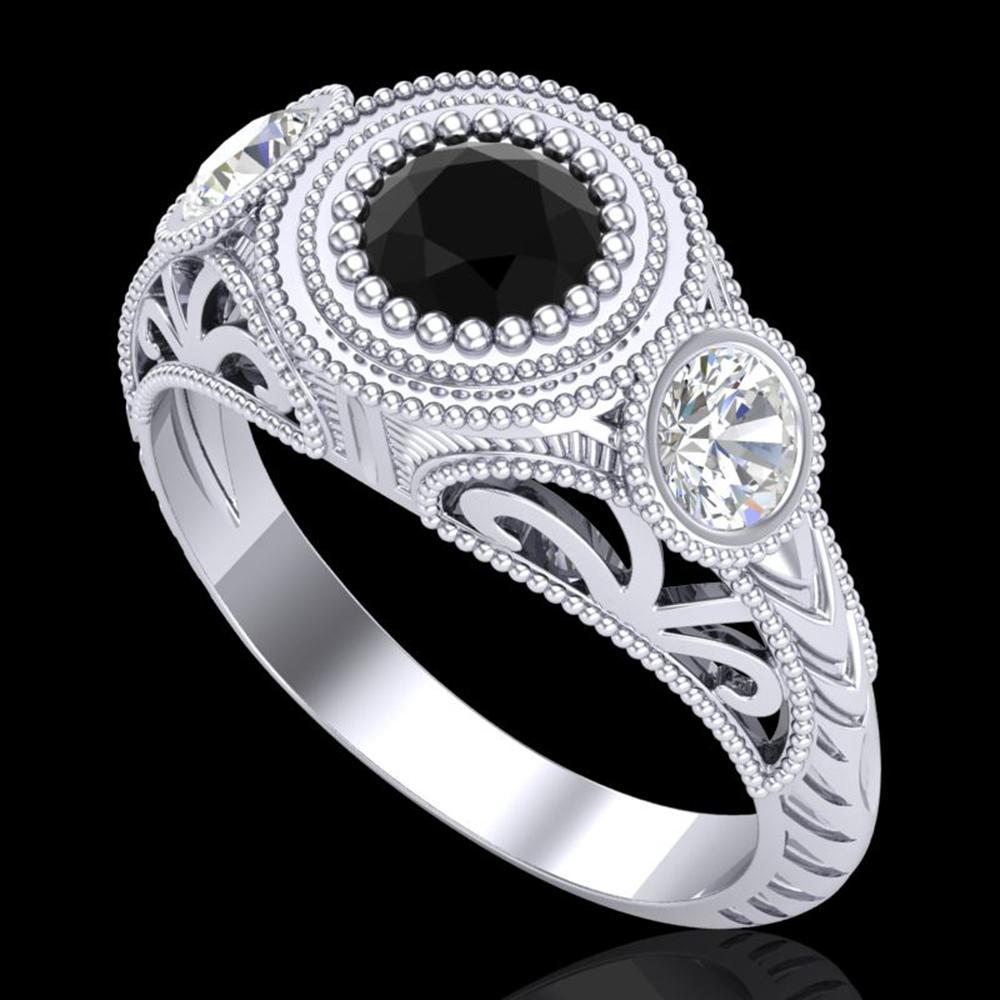 1.06 ctw Fancy Black Diamond Art Deco 3 Stone Ring 18k White Gold - REF-123A6N
