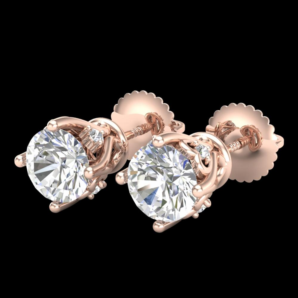 1.26 ctw VS/SI Diamond Solitaire Art Deco Stud Earrings 18k Rose Gold - REF-209F3M