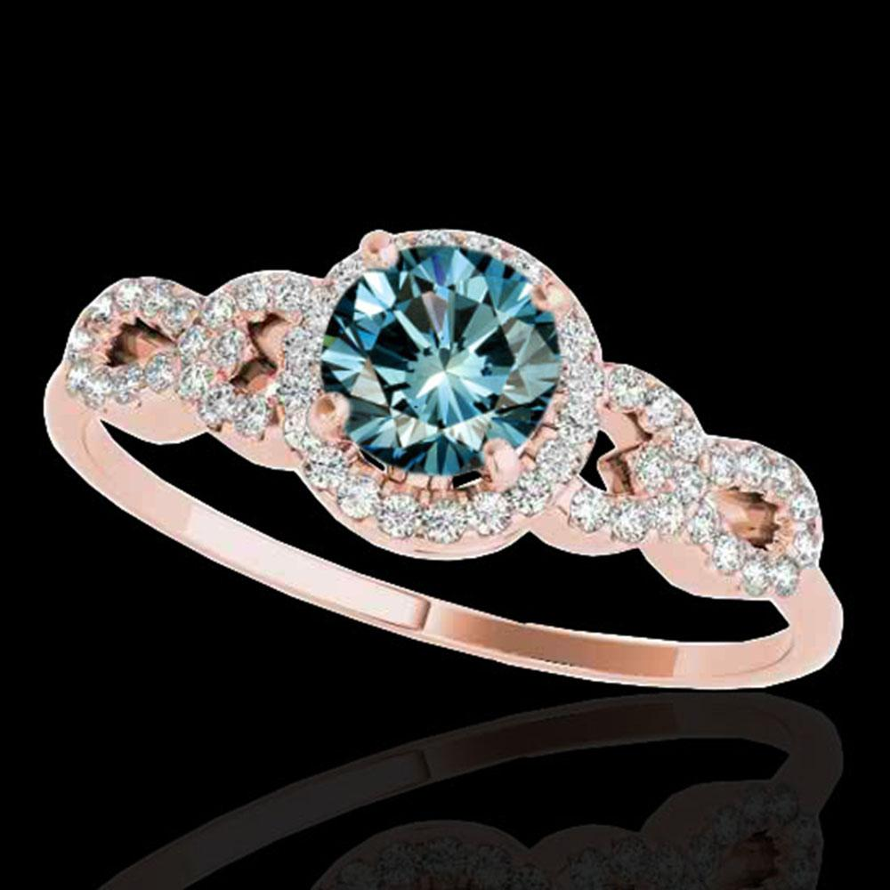 1.33 ctw SI Certified Fancy Blue Diamond Solitaire Ring 10k Rose Gold - REF-128F2M