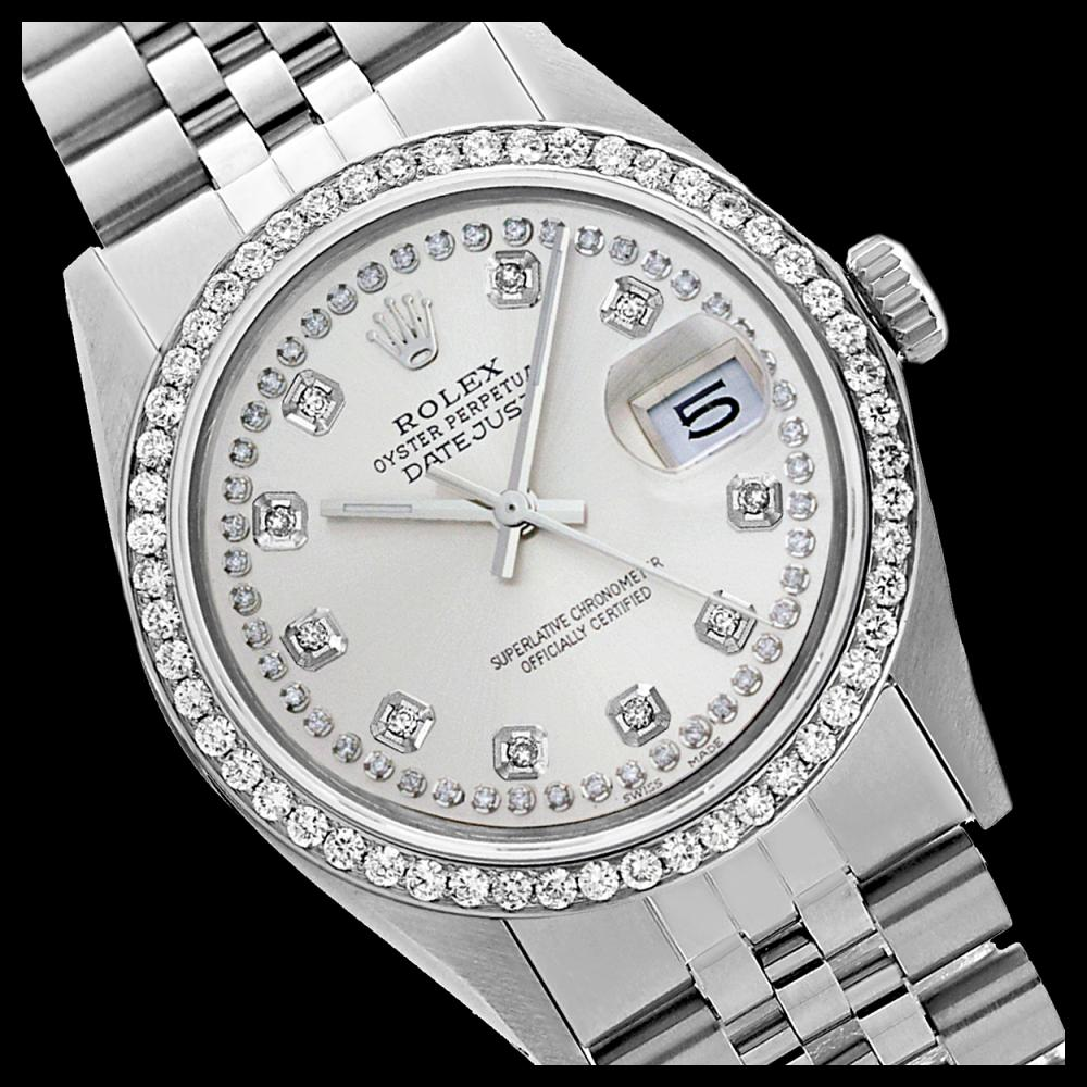 Rolex Men's Stainless Steel, QuickSet, Diamond Dial & Diamond Bezel - REF-557Y3X