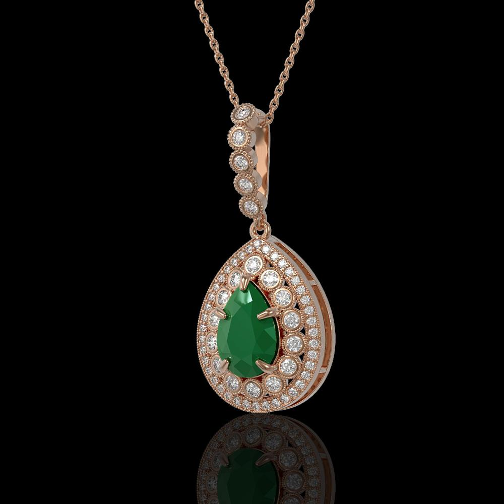 4.97 ctw Certified Emerald & Diamond Victorian Necklace 14K Rose Gold - REF-178N2F