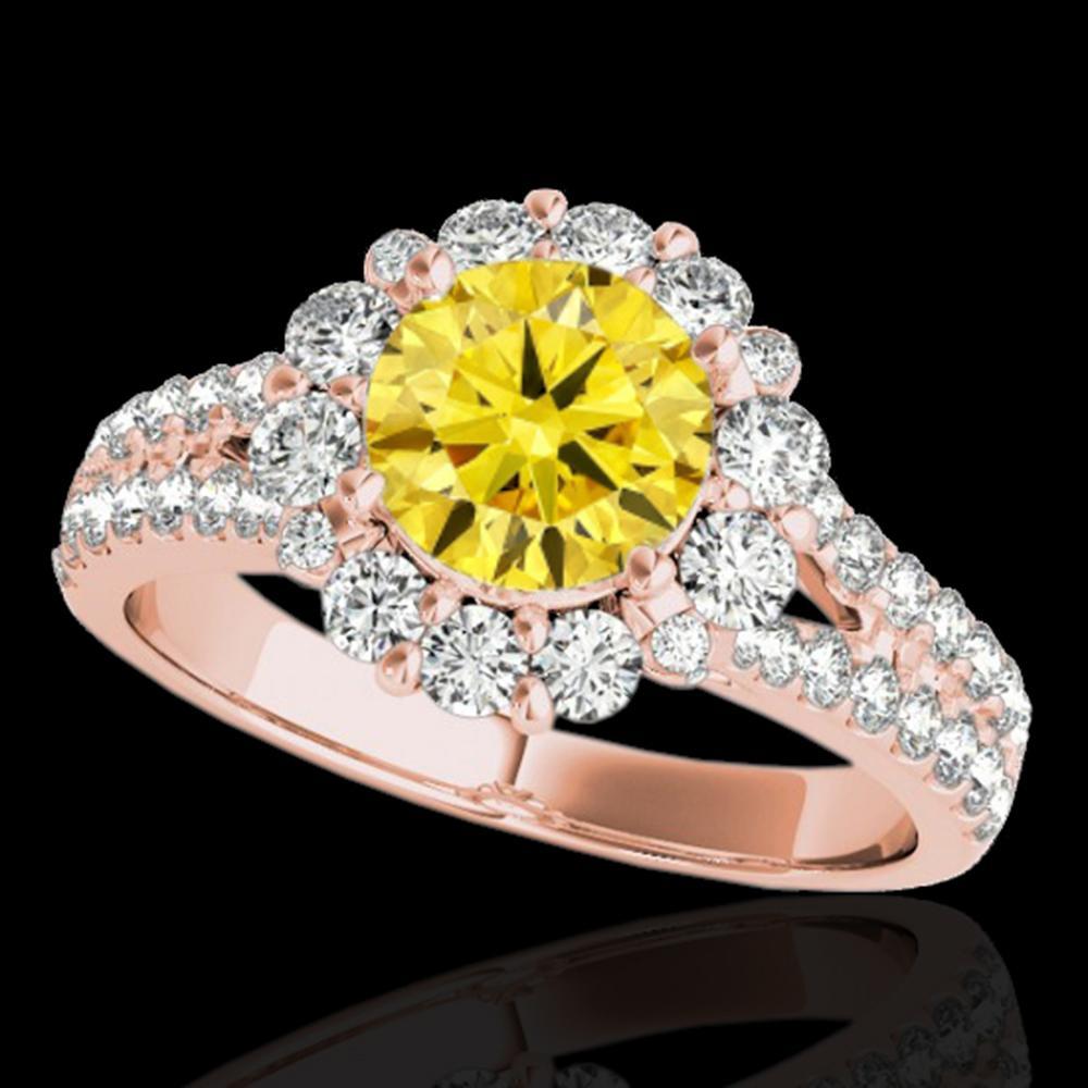 2.01 ctw Certified SI/I Fancy Intense Yellow Diamond Ring 10k Rose Gold - REF-225H2R