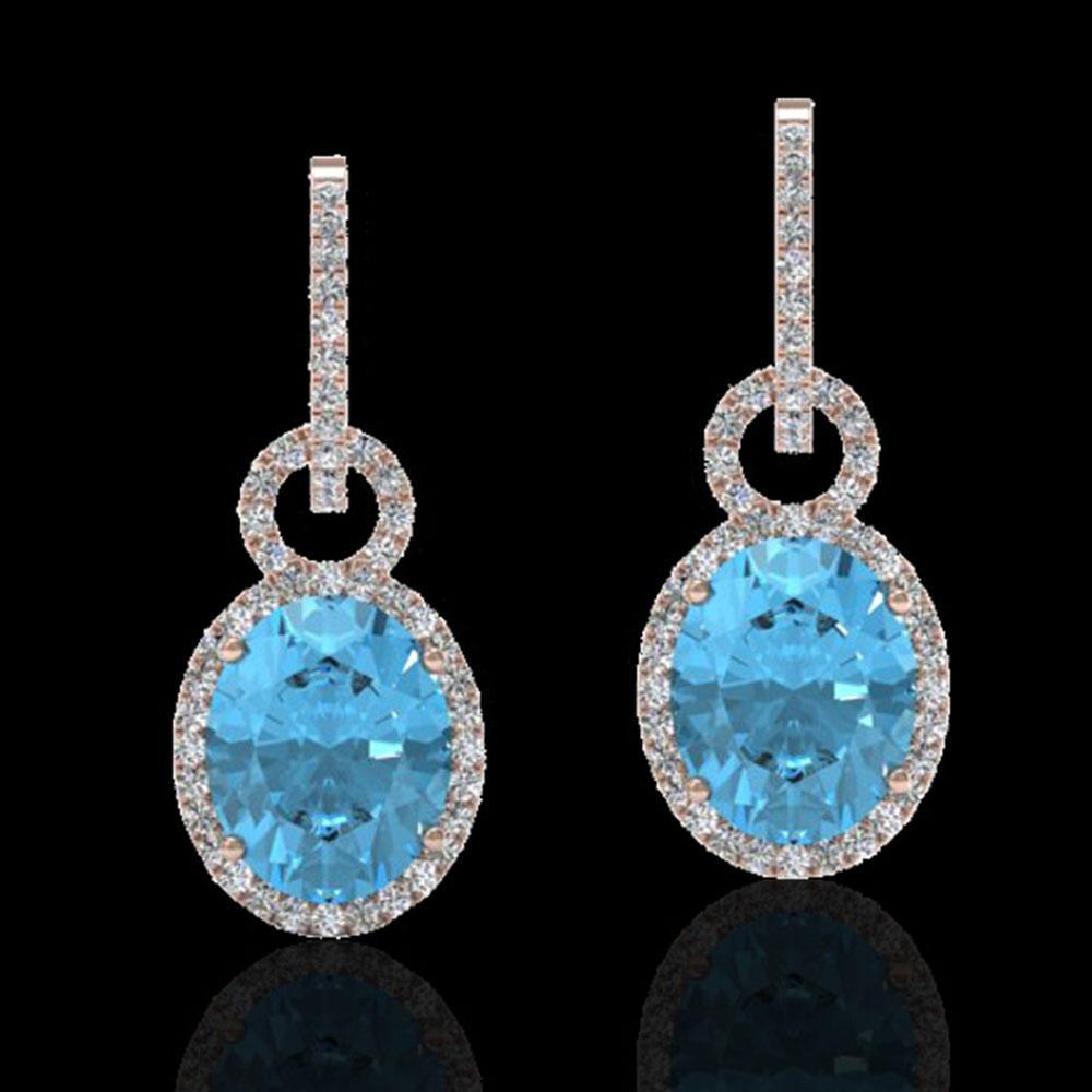8 ctw Sky Blue Topaz & Micro Halo VS/SI Diamond Earrings 14k Rose Gold - REF-90W8H