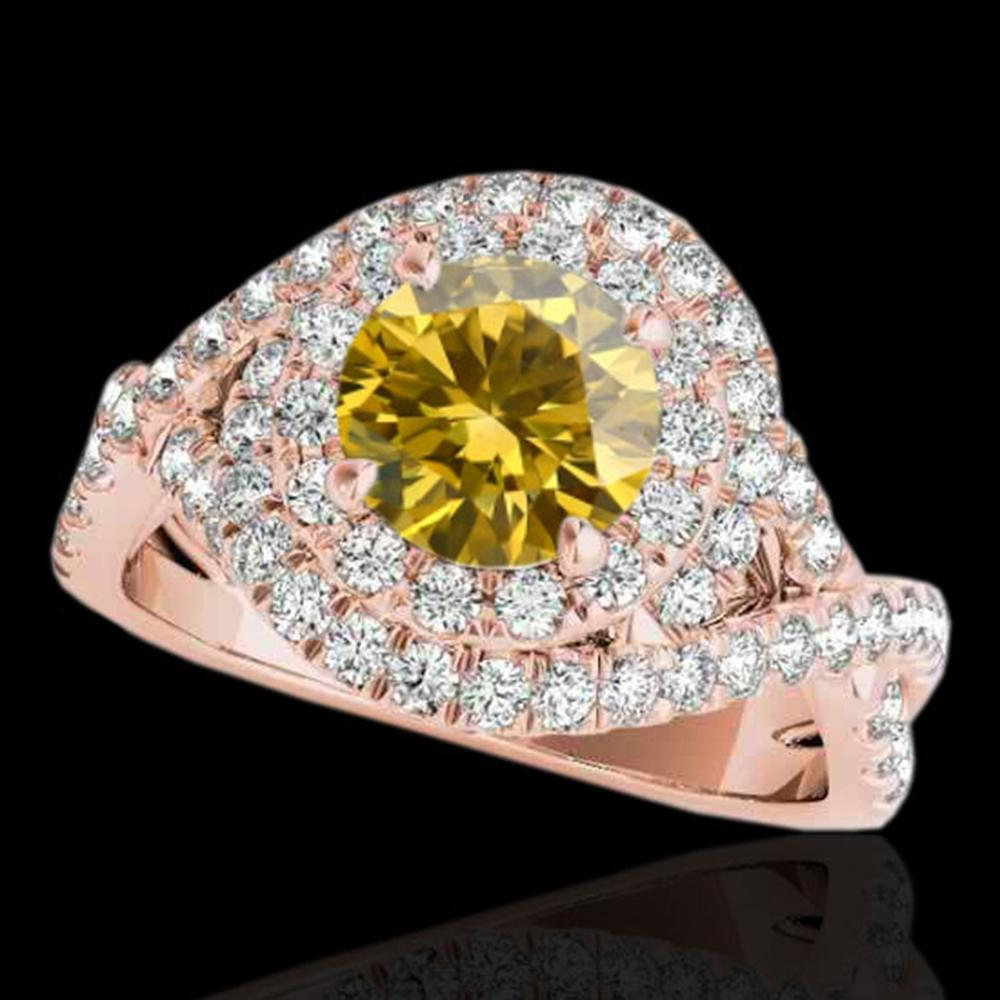 2 ctw Certified SI/I Fancy Intense Yellow Diamond Halo Ring 10k Rose Gold - REF-259W3H
