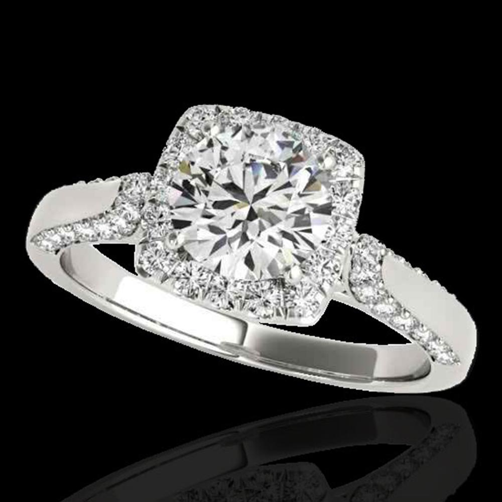 1.7 ctw Certified Diamond Solitaire Halo Ring 10k White Gold - REF-211F4M