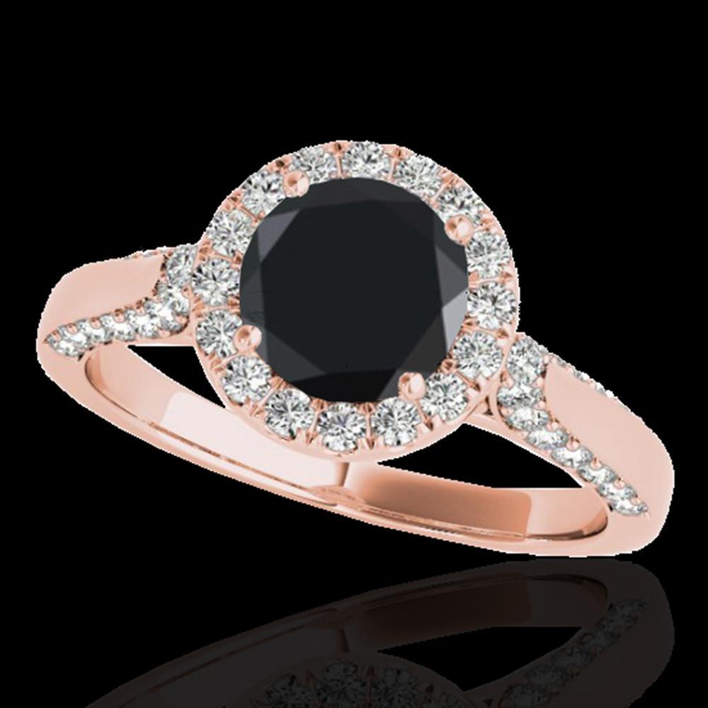 1.5 ctw Certified VS Black Diamond Solitaire Halo Ring 10k Rose Gold - REF-55K2Y