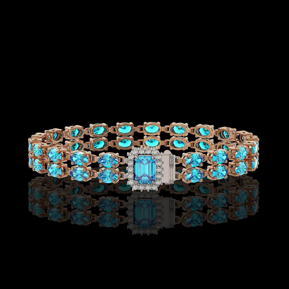 17.24 ctw Swiss Topaz & Diamond Bracelet 14K Rose Gold - REF-236N4F
