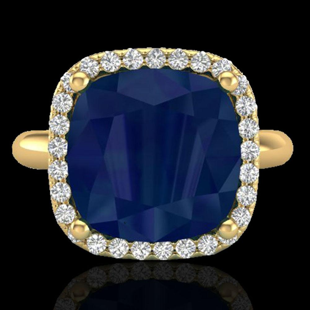 6 ctw Sapphire & Micro Pave Halo VS/SI Diamond Ring 18k Yellow Gold - REF-77M3G