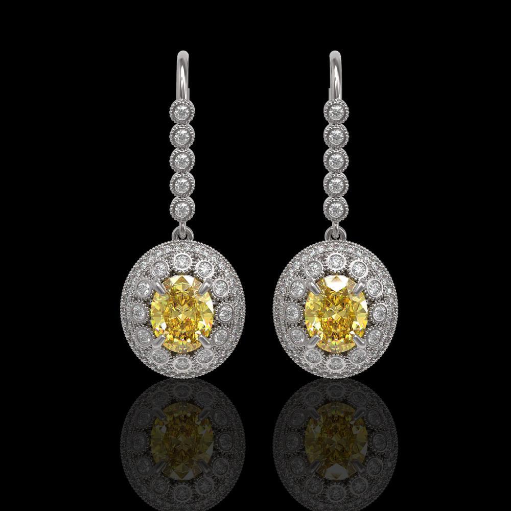 7.65 ctw Canary Citrine & Diamond Victorian Earrings 14K White Gold - REF-216M9G