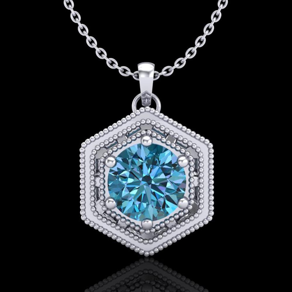 0.76 ctw Fancy Intense Blue Diamond Art Deco Necklace 18k White Gold - REF-103F6M