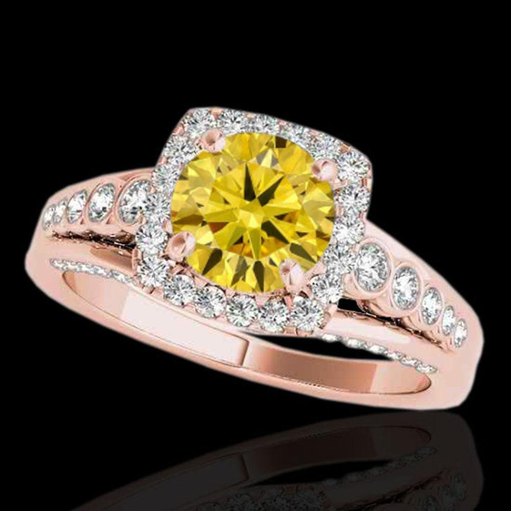 1.75 ctw Certified SI/I Fancy Intense Yellow Diamond Ring 10k Rose Gold - REF-204X5A