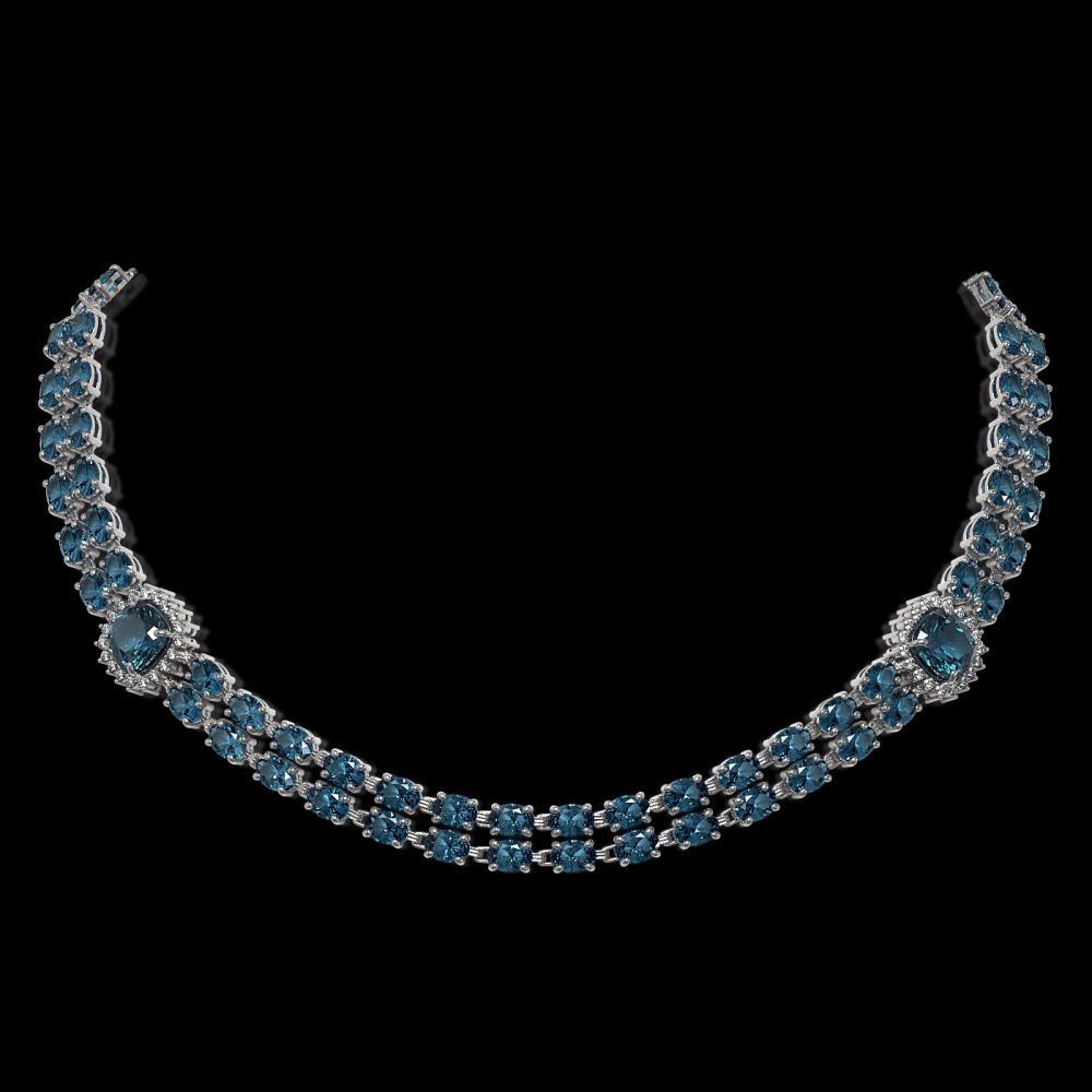 39.55 ctw London Topaz & Diamond Necklace 14K White Gold - REF-527G3W