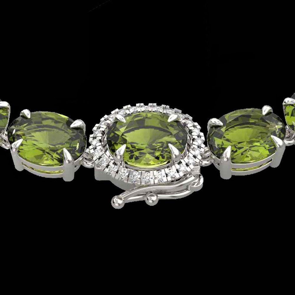 66 ctw Green Tourmaline & VS/SI Diamond Micro Necklace 14k White Gold - REF-618F2M