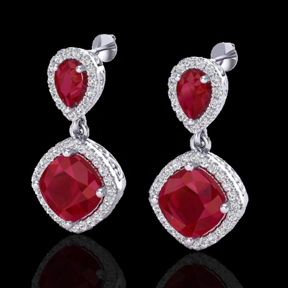 7 ctw Ruby & Micro Pave VS/SI Diamond Earrings Designer 10k White Gold - REF-118M2G