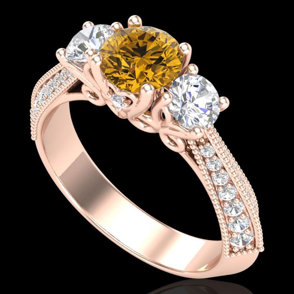 1.81 ctw Intense Fancy Yellow Diamond Art Deco Ring 18k Rose Gold - REF-236M4G