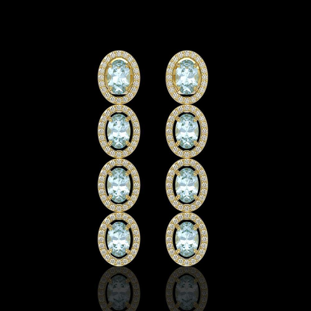 6.28 ctw Sky Topaz & Diamond Micro Pave Halo Earrings 10k Yellow Gold - REF-143N6F