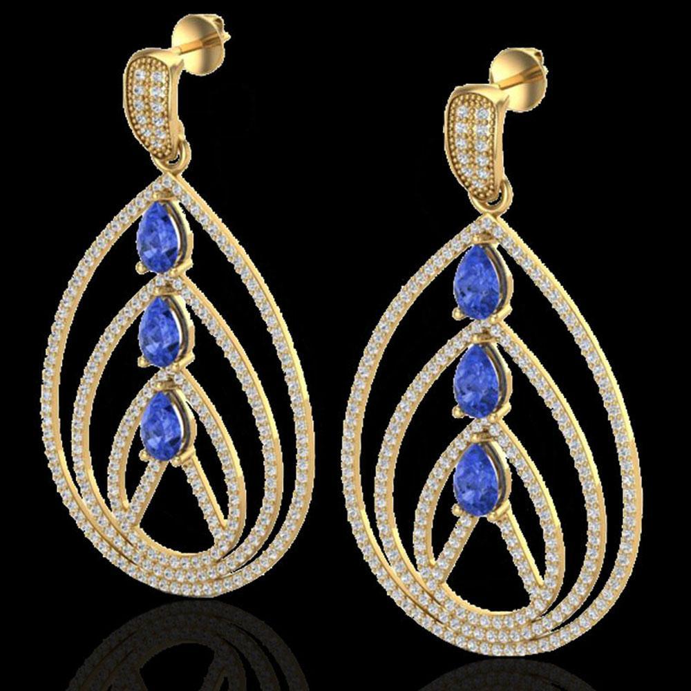 4 ctw Tanzanite & Micro Pave VS/SI Diamond Earrings 18k Yellow Gold - REF-307N3F
