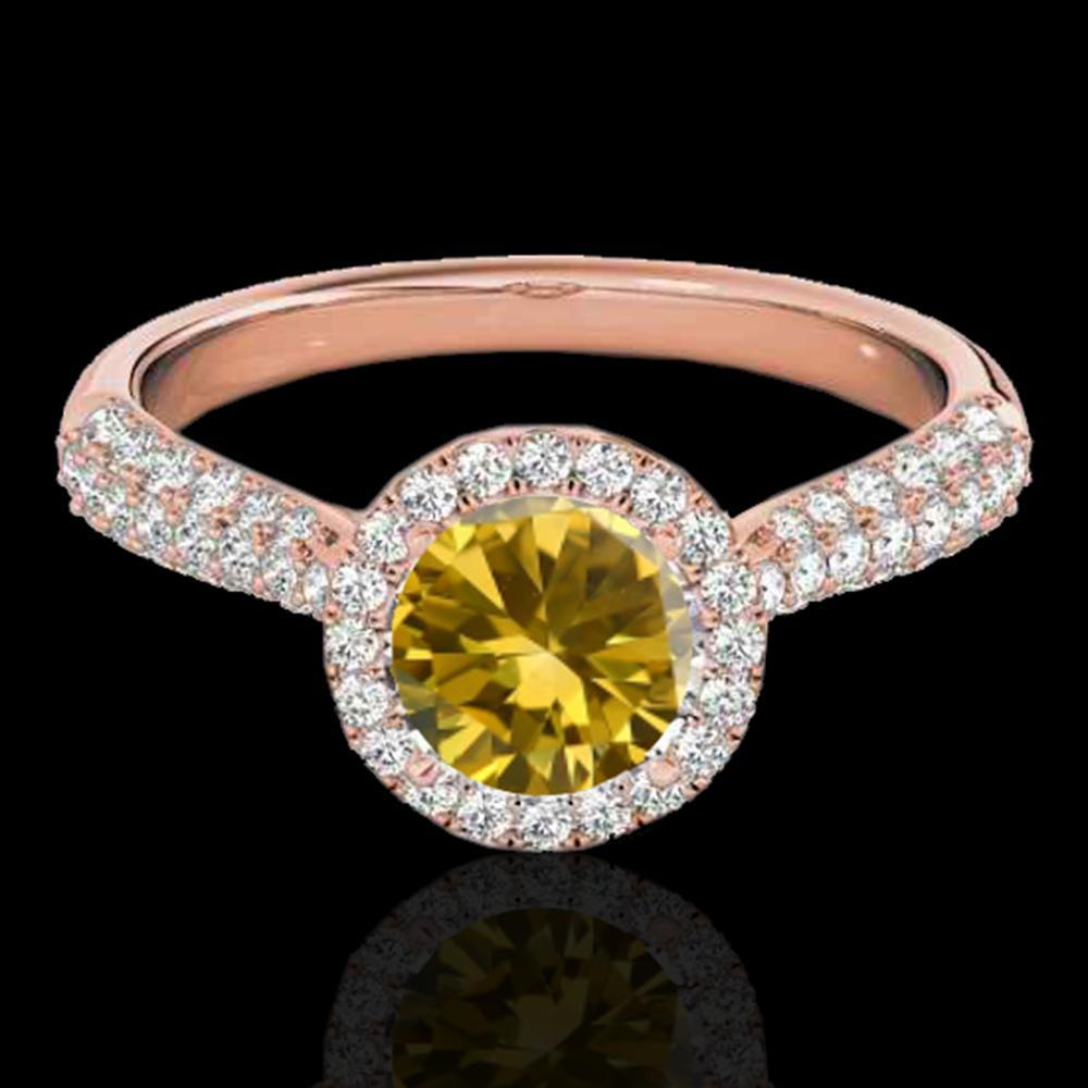 1.40 ctw Certified SI/I Fancy Intense Yellow Diamond Ring 10k Rose Gold - REF-204Y5X