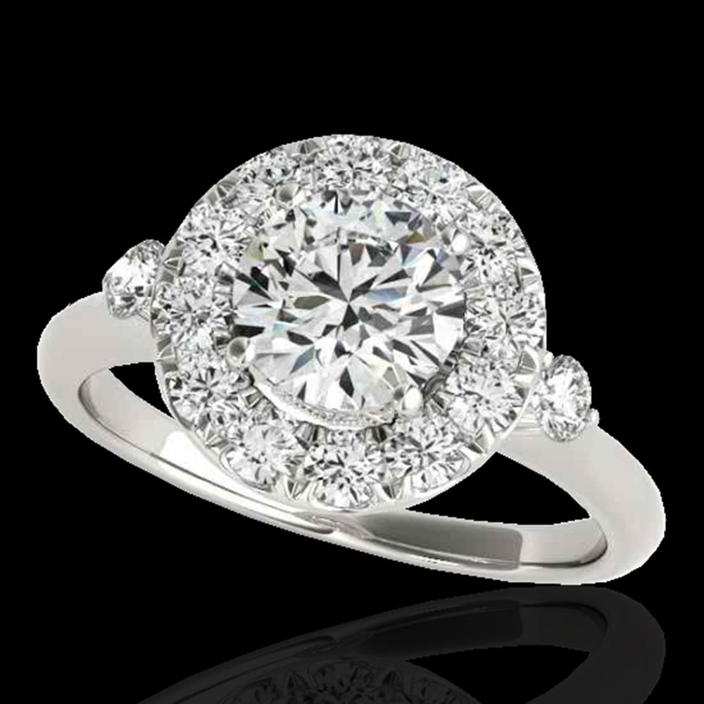 1.5 ctw Certified Diamond Solitaire Halo Ring 10k White Gold - REF-177M3G