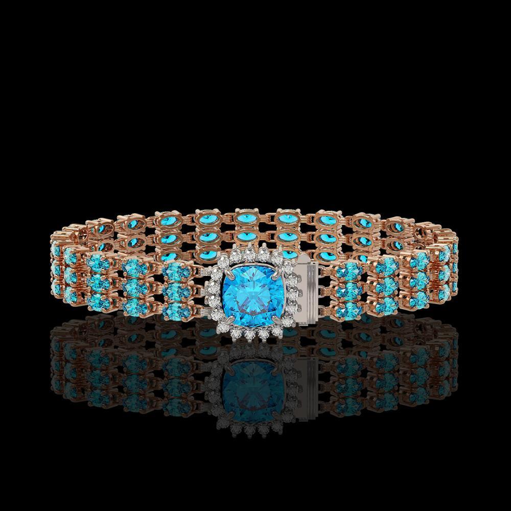 29.89 ctw Swiss Topaz & Diamond Bracelet 14K Rose Gold - REF-281H8R