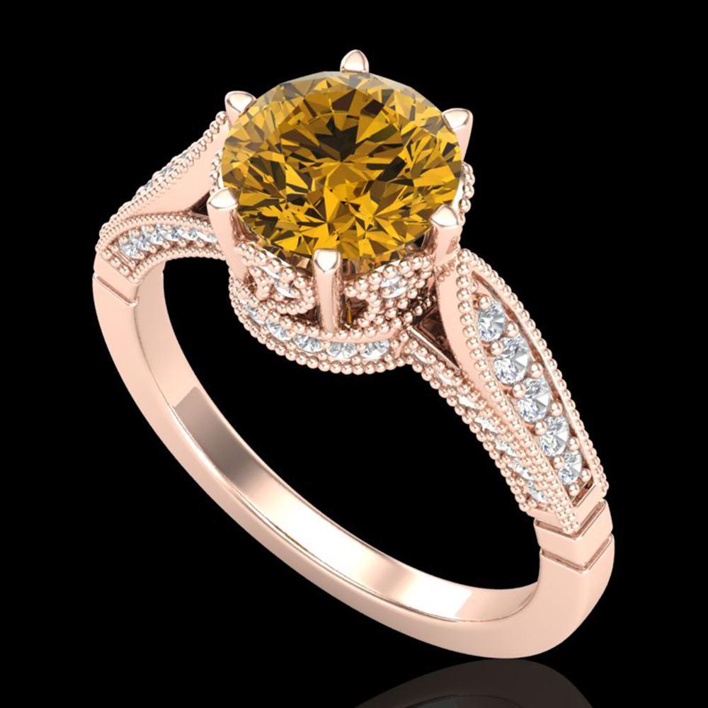 2.2 ctw Intense Fancy Yellow Diamond Art Deco Ring 18k Rose Gold - REF-490A9N