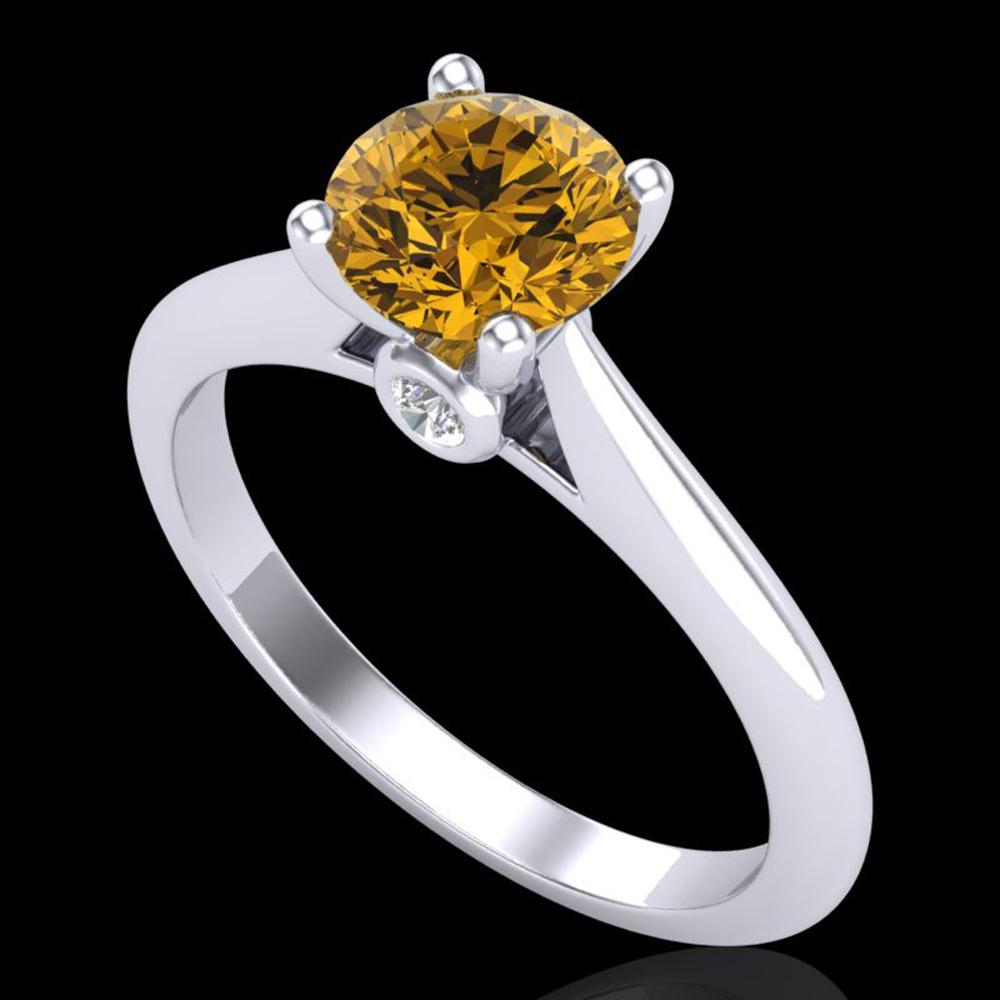 1.08 ctw Intense Fancy Yellow Diamond Art Deco Ring 18k White Gold - REF-177F3M