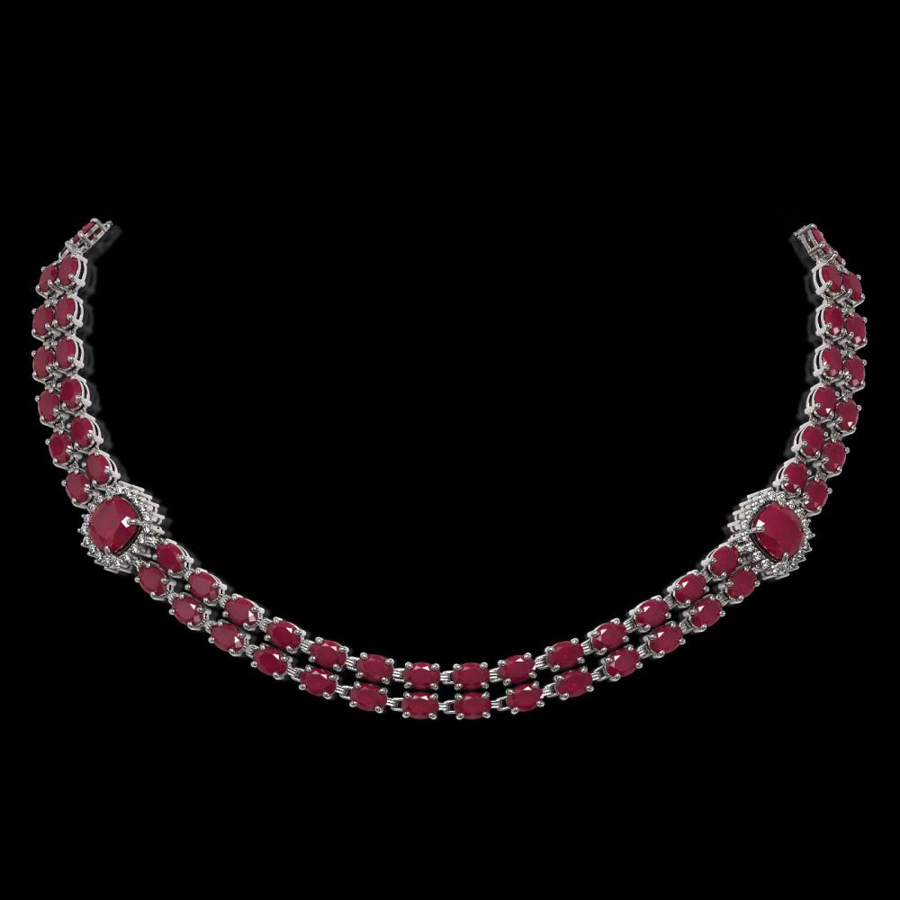43.97 ctw Ruby & Diamond Necklace 14K White Gold - REF-527A3N