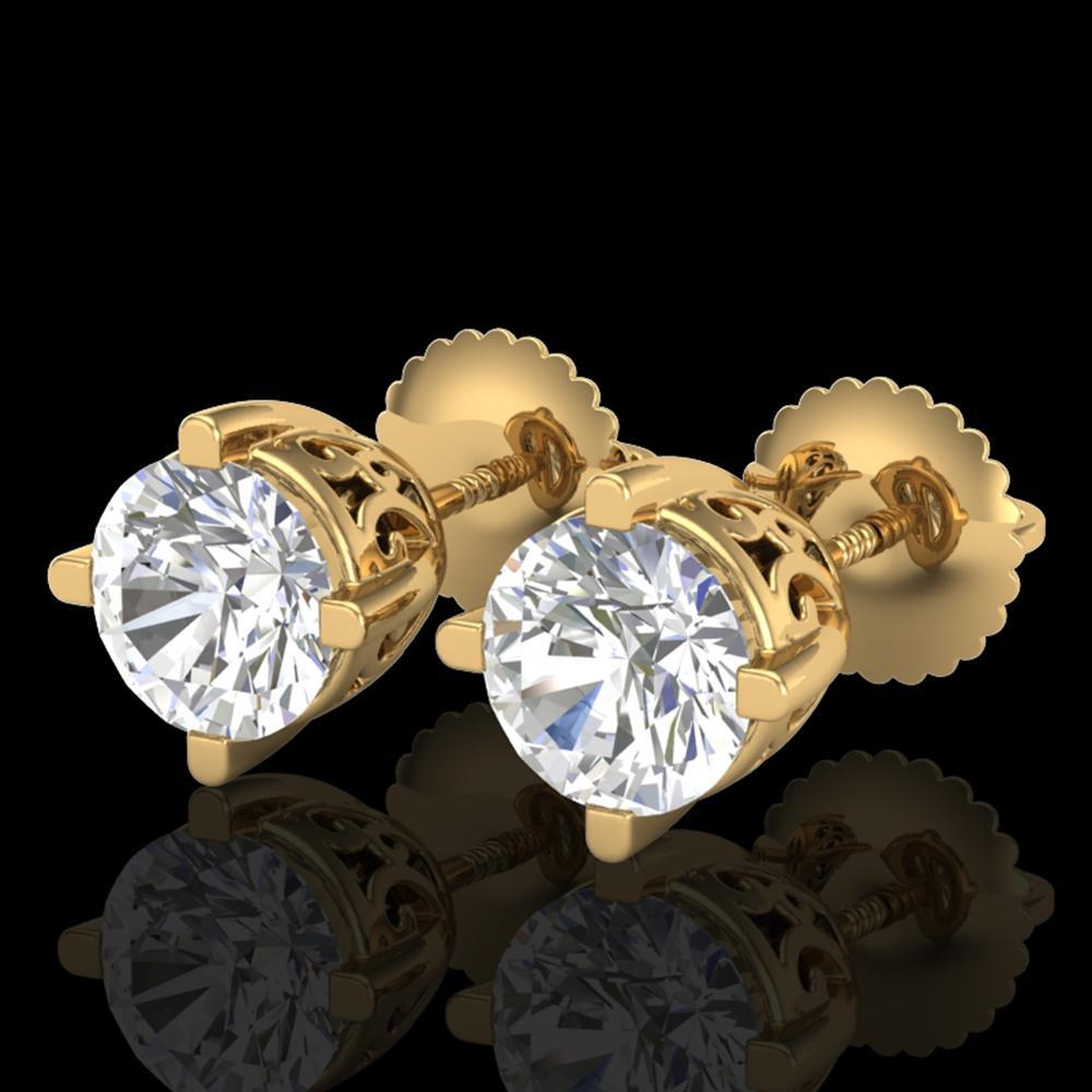 1.5 ctw VS/SI Diamond Solitaire Art Deco Stud Earrings 18k Yellow Gold - REF-318K2Y