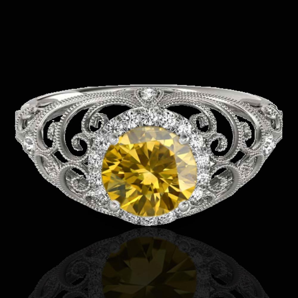 1.22 ctw Certified SI/I Fancy Intense Yellow Diamond Ring 10k White Gold - REF-177X3A