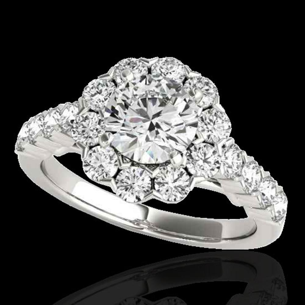 3 ctw Certified Diamond Solitaire Halo Ring 10k White Gold - REF-381W8H