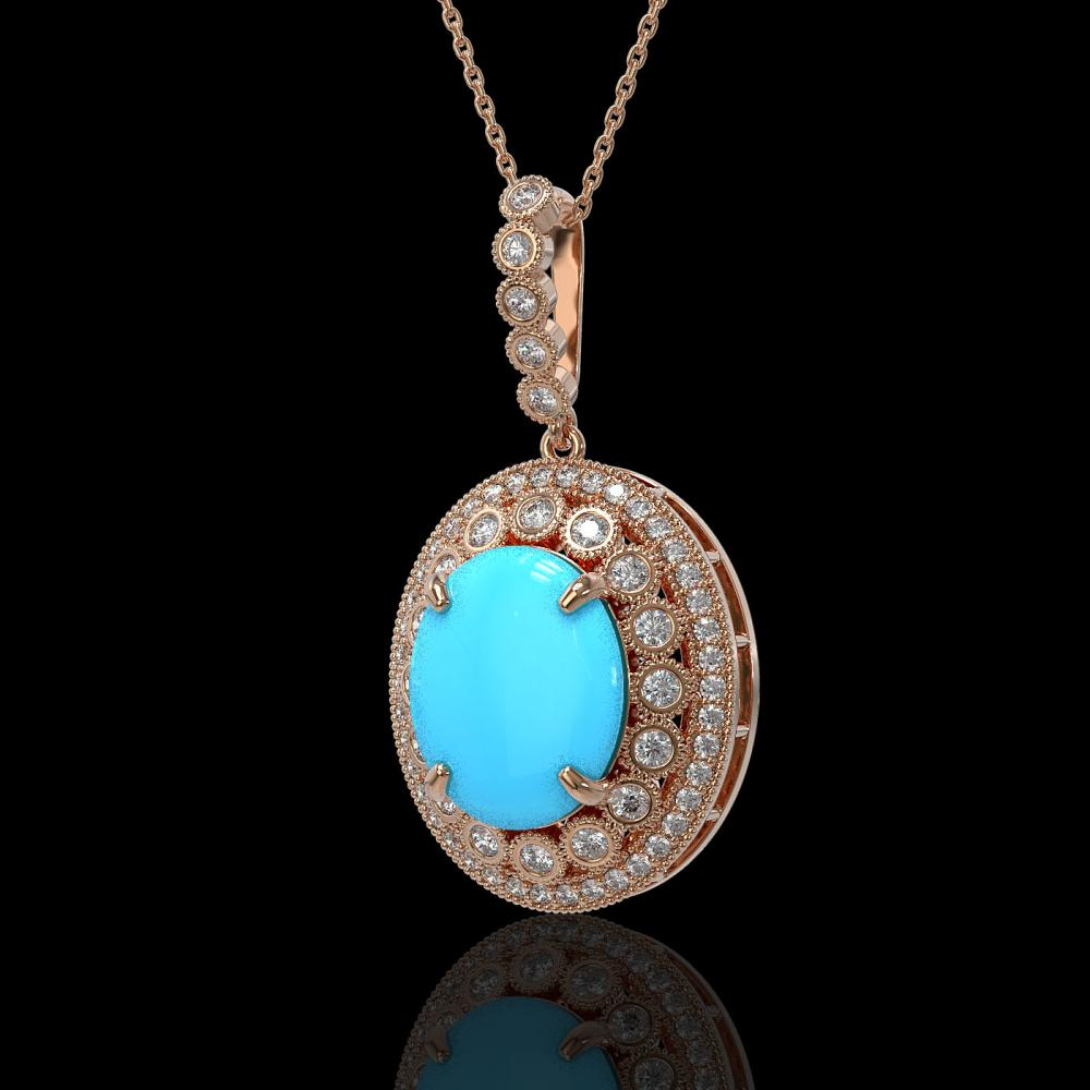 8.97 ctw Turquoise & Diamond Victorian Necklace 14K Rose Gold - REF-245X5A