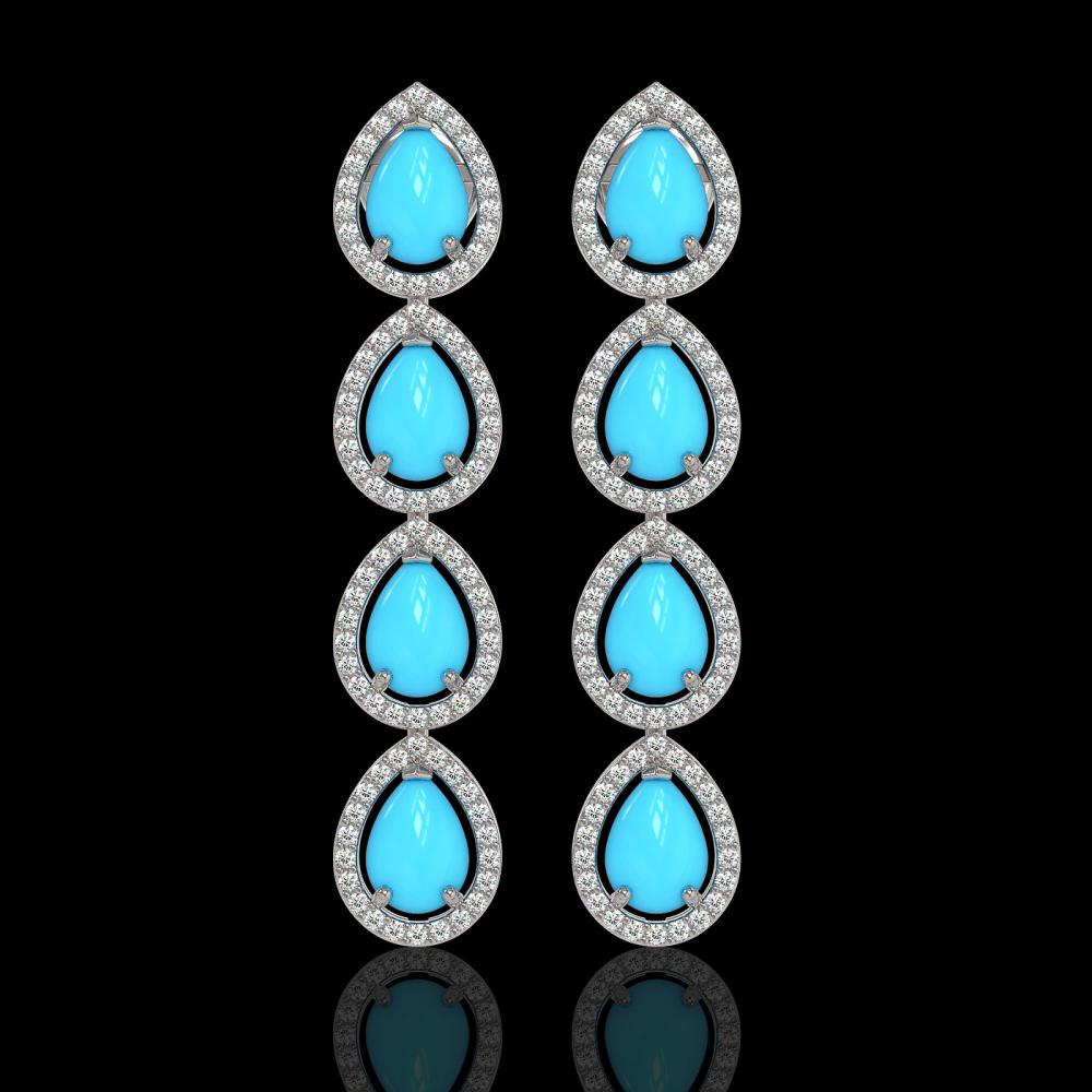 6.20 ctw Turquoise & Diamond Micro Pave Halo Earrings 10k White Gold - REF-158F2M