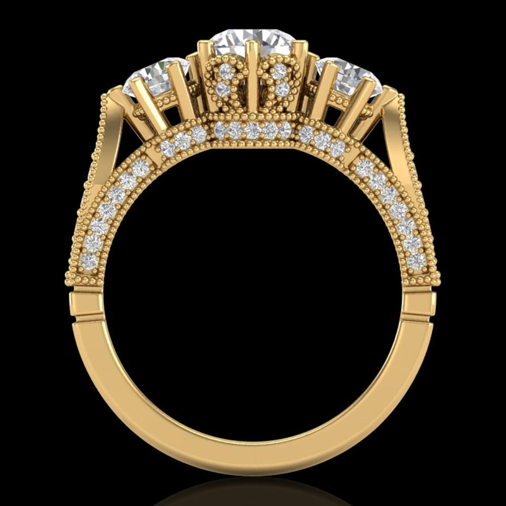 2.18 ctw VS/SI Diamond Art Deco 3 Stone Ring 18k Yellow Gold - REF-244G5W