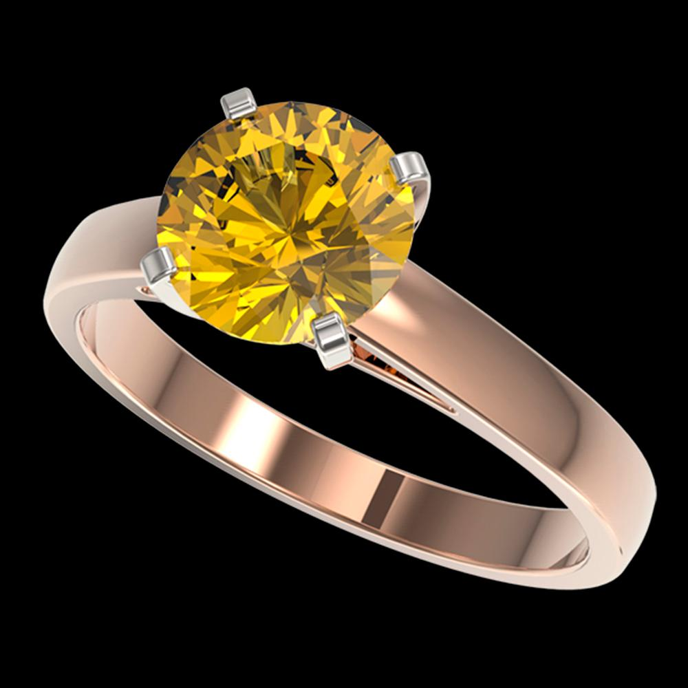 2 ctw Certified Intense Yellow Diamond Engagment Ring 10k Rose Gold - REF-454A3N