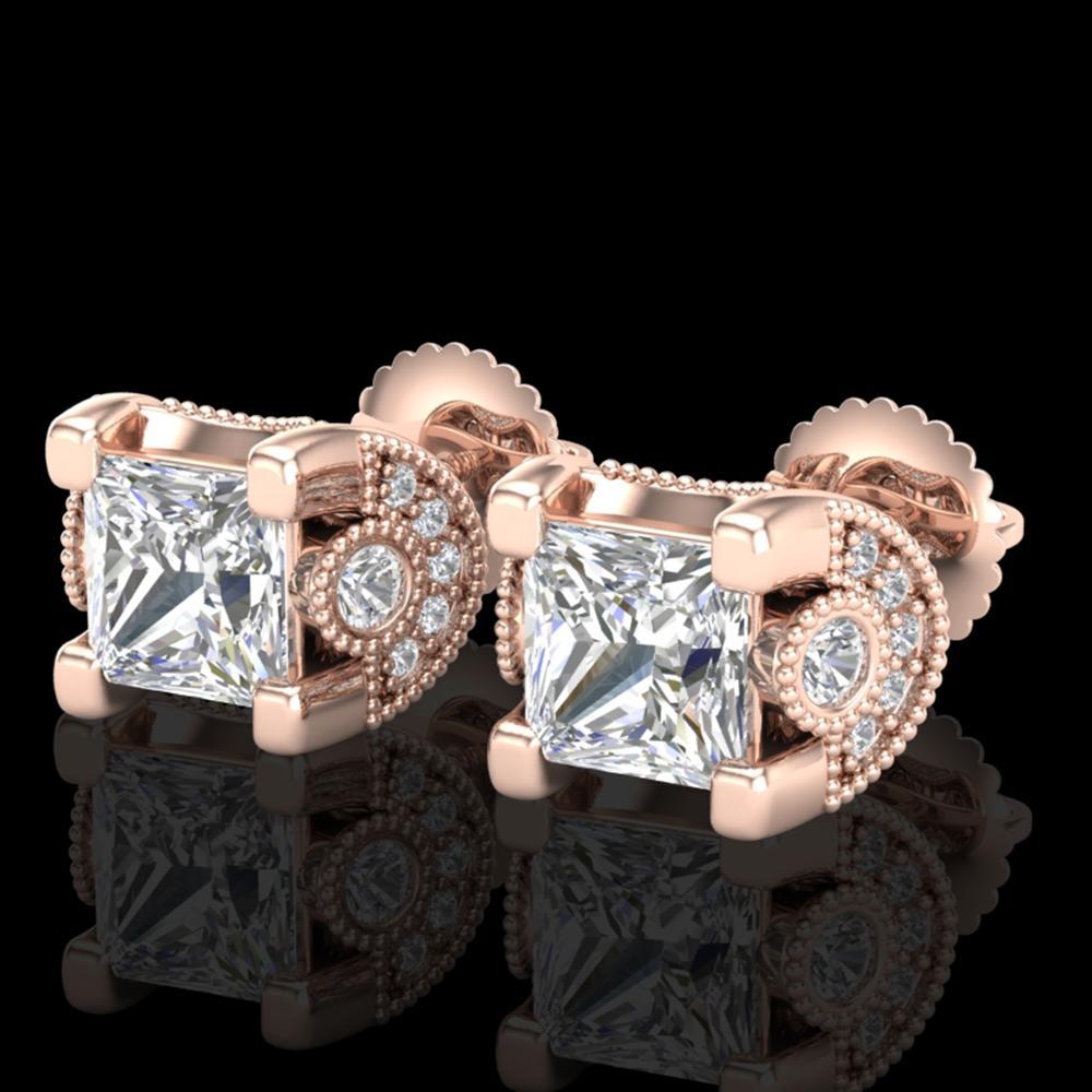 2.5 ctw Princess VS/SI Diamond Art Deco Stud Earrings 18k Rose Gold - REF-585A2N