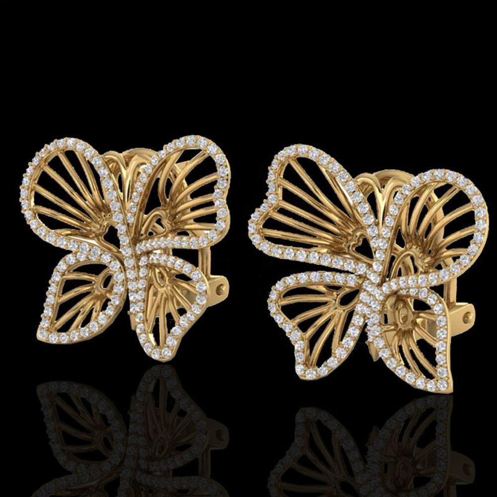 1.25 ctw Designer Micro Butterfly VS/SI Diamond Earrings 14k Yellow Gold - REF-141Y8X
