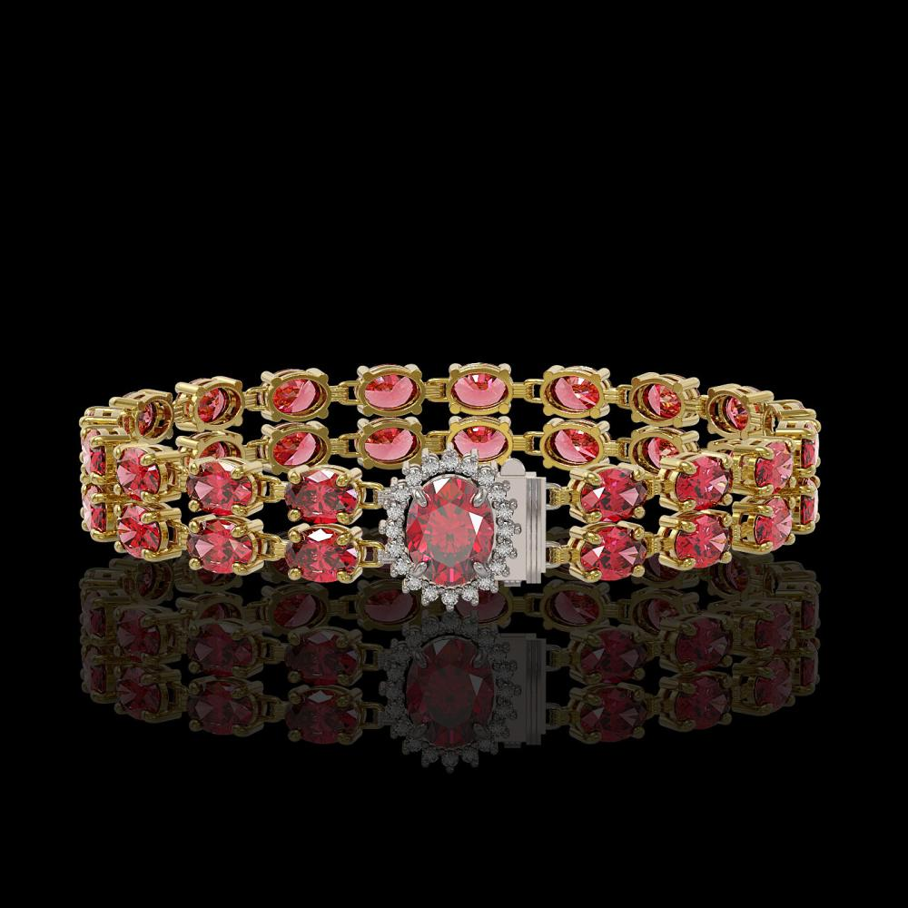 26.92 ctw Tourmaline & Diamond Bracelet 14K Yellow Gold - REF-336A4N